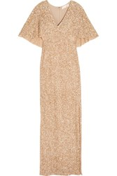 Alice Olivia Krystina Sequined Tulle Gown Gold