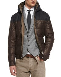 Brunello Cucinelli Hooded Leather Parka Brown