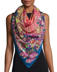 Etro Bombay Floral Watercolor Paisley Square Scarf Blue