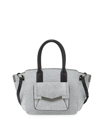 Time's Arrow Mini Jo Embossed Leather Tote Bag White Black