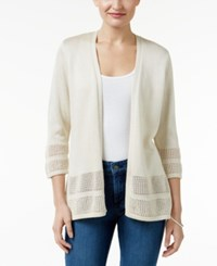 Jm Collection Open Knit Cardigan Only At Macy's Flax