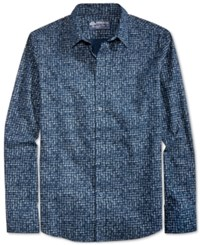 American Rag Men's Textured Check Cotton Shirt Only At Macy's Basic Navy
