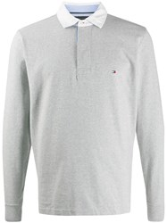Tommy Hilfiger Logo Embroidered Polo Shirt Grey