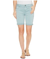 Liverpool Corine Walking Shorts Rolled Cuff In Stretch Peached Twill In Slate Blue Slate Blue Women's Shorts