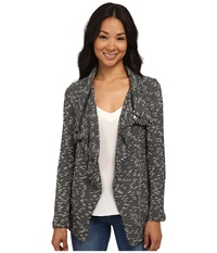 Bobeau Textured Zip Lapel Jacket Black Pattern Women's Jacket