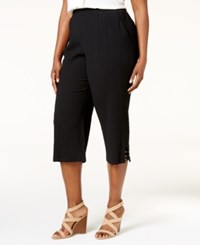 Jm Collection Plus Size Lattice Hem Capri Pants Only At Macy's Deep Black
