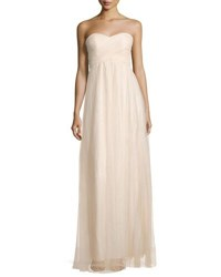 Donna Morgan Empire Waist Strapless Tulle Gown Light Beige