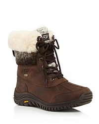Ugg Adirondack Ii Faux Fur Cuffed Lace Up Mid Calf Boots Chocolate