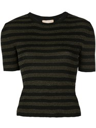 Michael Kors Collection Glitter Striped Top Green