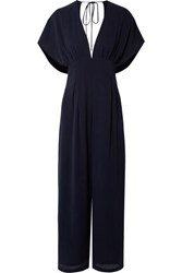 Mother Of Pearl Sky Open Back Lyocell Jumpsuit Navy