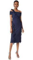Jason Wu Ruffle Knit Dress Navy