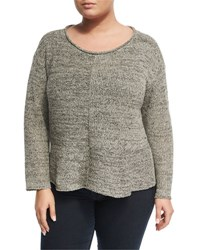 Eileen Fisher Twisted Silk Knit Ballet Top Gray
