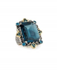 Konstantino Thalassia Emerald Cut London Blue Topaz Cocktail Ring