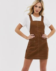Pieces Pinafore Mini Dress With Contrast Stitching Brown