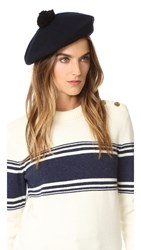 Club Monaco Parri Beret With Pom Pom Navy Black