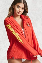Forever 21 Baywatch Graphic Windbreaker Red Yellow
