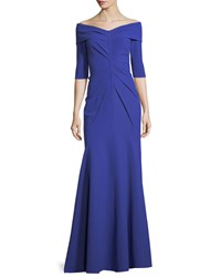 Rene Ruiz Off The Shoulder Elbow Sleeve Trumpet Evening Gown Cobalt