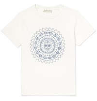 Remi Relief Distressed Embroidered Cotton Jersey T Shirt White