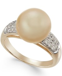 Macy's Cultured Golden South Sea Pearl 11Mm And Diamond 1 4 Ct. T.W. Ring In 14K Gold