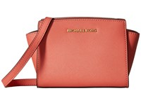 Michael Michael Kors Selma Mini Messenger Pink Grapefruit Cross Body Handbags Orange