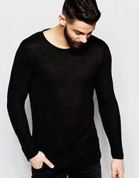 River Island Jumper In Lightweight Ribbed Knit In Black