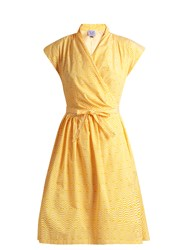Thierry Colson Striped Cotton Dress Yellow White