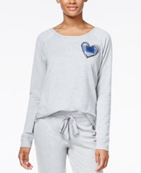 By Jennifer Moore Heart Appliqued Pajama Top Only At Macy's Heather Grey