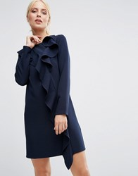 Asos Long Sleeve Shift Dress With Ruffle Front Navy Blue