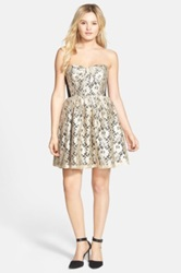 A. Drea Corseted Lace Fit And Flare Dress Juniors Metallic