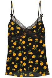 Michael Kors Collection Woman Lace Trimmed Floral Print Silk Crepe Camisole Black