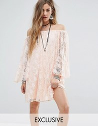 Reclaimed Vintage Inspired Off The Shoulder Swing Dress In Lace Pink