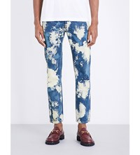 Gucci Bleached Slim Fit Tapered Jeans Blue Ivory