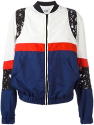 Msgm Lace Panel Bomber Jacket Blue
