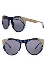 Smoke X Mirrors Women's Zoubisou 53Mm Cat Eye Sunglasses Blue Glam Brushed Gold Blue Glam Brushed Gold