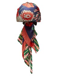 Gucci Logo And Floral Print Headscarf Navy