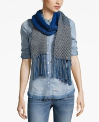 Rampage Colorblock Fringe Scarf Only At Macy's Grey Denim
