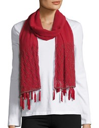 Cejon Beaded Tassel Wrap Scarf Red