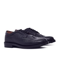 G.H. Bass And Co. Monogram Triple Welted Longwing Grain Brogue Black