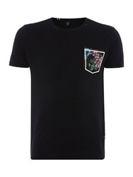 Replay Men's T Shirt With Floral Chest Pocket Black