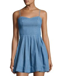 Lovers Friends Sandy Fit And Flare Chambray Dress Blue