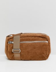 Weekday Cord Zip Body Bag Brown