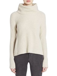 Alice Olivia Nettie Wool And Cashmere Rib Knit Sweater Oatmeal Heather