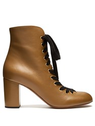 Chloe Miles Lace Up Leather Ankle Boots Khaki