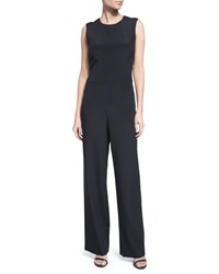 Nicole Miller Open Back Straight Leg Jumpsuit Black Women's