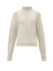 Isabel Marant Edilon High Neck Wool Blend Sweater Light Grey