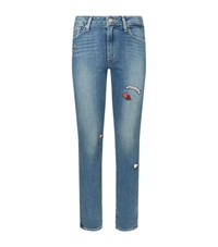 Paige Hoxton Skinny Patchwork Jeans Female Blue
