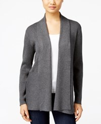 Jm Collection Petites Petite Open Front Ribbed Cardigan Only At Macy's Charcoal Heather