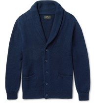 Beams Plus Shawl Collar Linen And Cotton Blend Cardigan Navy