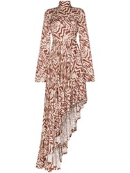 Solace London Marlee Patterned Asymmetric Maxi Dress Multicolour