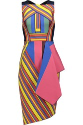 Peter Pilotto Hendrix Pleated Printed Cady Dress Petrol